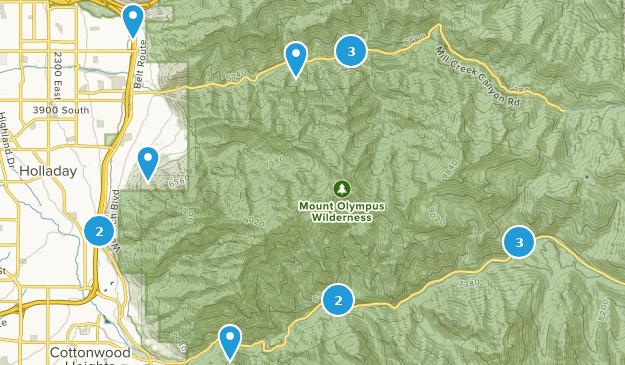 Mount Olympus Wilderness Trail Running Map