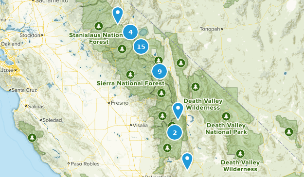 Forêt nationale d'Inyo Camping Map