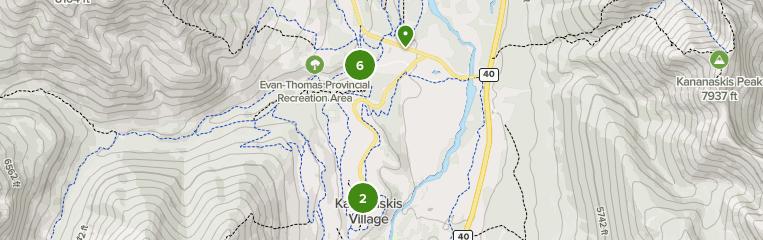 Map of bird watching trails in Evan-Thomas Provincial Recreation Area, Alberta, Canada