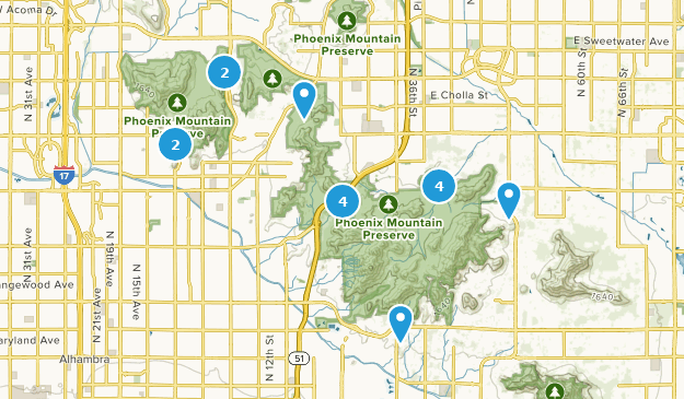 Phoenix Mountain Preserve Mountain Biking Map