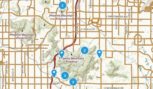 Phoenix Mountain Preserve Trail Running Map