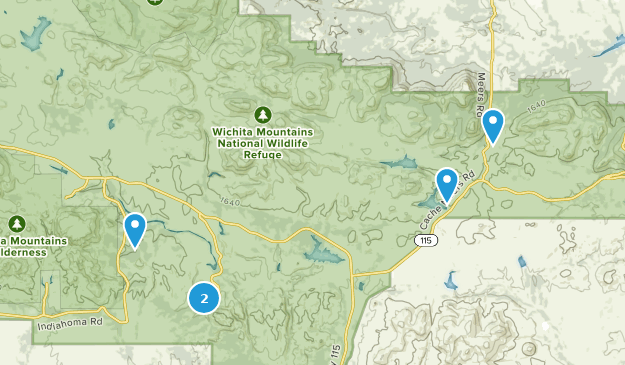 Mountains In Oklahoma Map.Map Of Trails Near Wichita Mountains National Wildlife Refuge