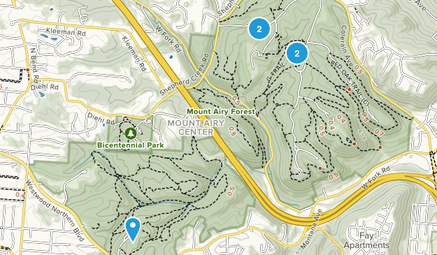 Mount Airy Forest Hiking Map