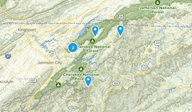 Forêt nationale de Cherokee Camping Map