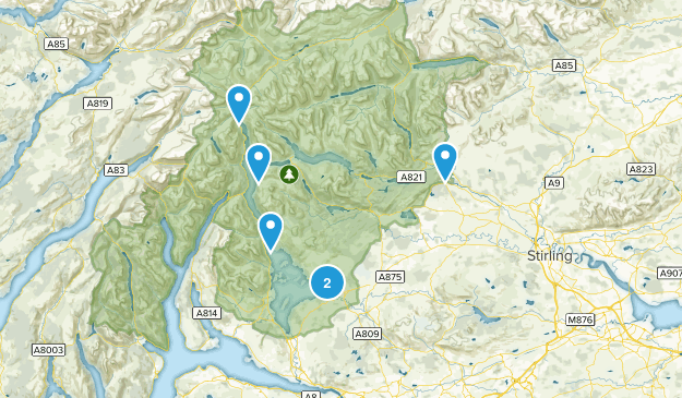 Loch Lomond and The Trossachs National Park Nature Trips Map