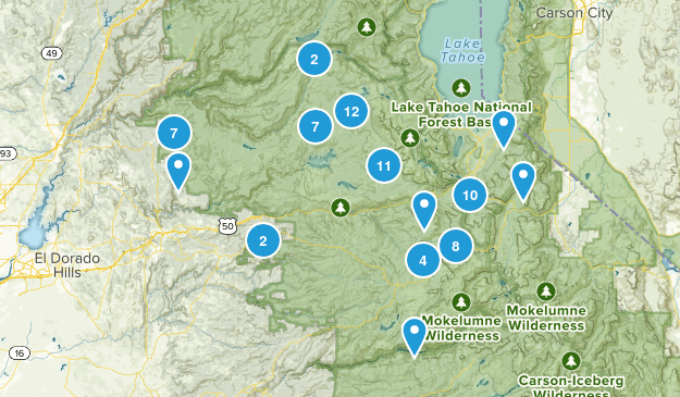 El Dorado National Forest Hiking Map