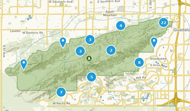 South Mountain Preserve Trail Running Map