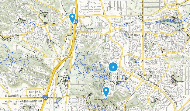Austin Bluffs Open Space - Pulpit Rock Mountain Biking Map