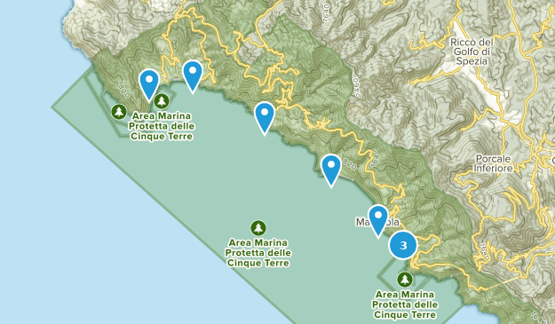 Cinque Terre National Park Hiking Map