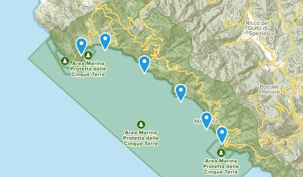 Cinque Terre National Park Nature Trips Map