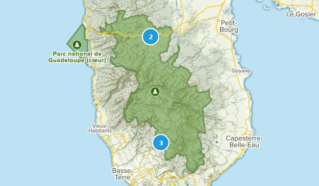 Guadeloupe National Park Hiking Map