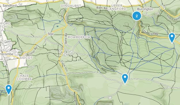 Mendip Hills Area of Outstanding Natural Beauty Mountain Biking Map