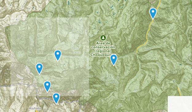 Area de conservación regional Choquequirao Camping Map