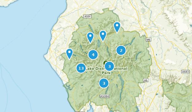 Lake District National Park Hiking Map