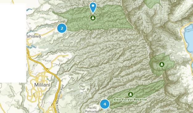 Réserve forestière d'Ewa Hiking Map