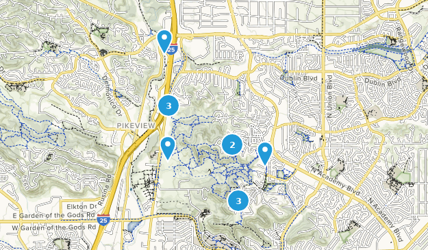 Austin Bluffs Open Space Hiking Map