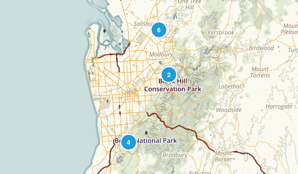 Adelaide, South Australia Hiking Map