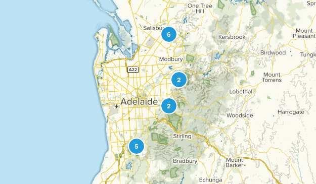 Adelaide, South Australia Hiking Map