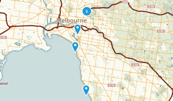 Melbourne, Victoria Dogs On Leash Map