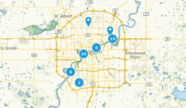 Edmonton, Alberta Hiking Map