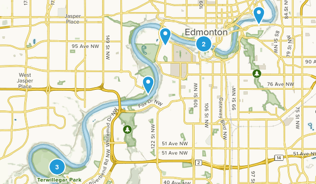 Edmonton, Alberta Mountain Biking Map