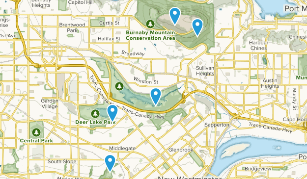 Burnaby, British Columbia Dogs On Leash Map