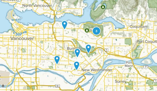 Burnaby, British Columbia Hiking Map