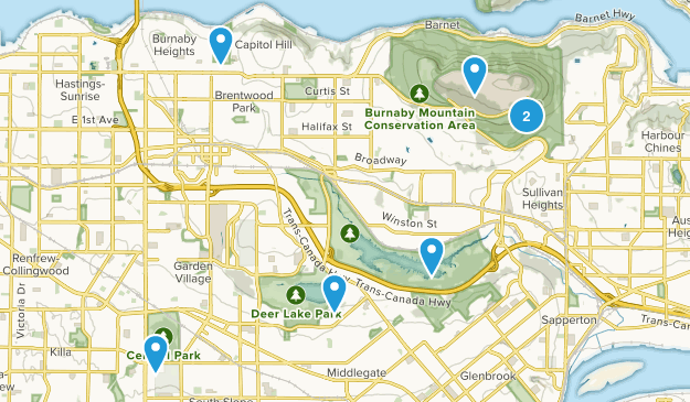Burnaby, British Columbia Nature Trips Map