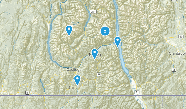 Central Kootenay, British Columbia Hiking Map
