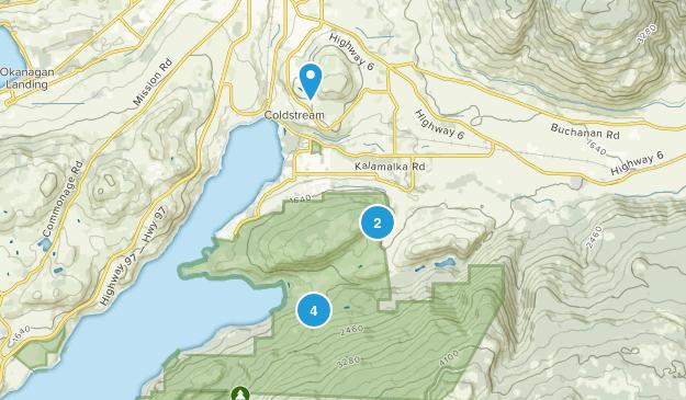 Coldstream, British Columbia Hiking Map