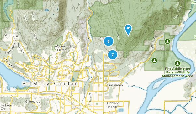 Coquitlam, British Columbia Mountain Biking Map