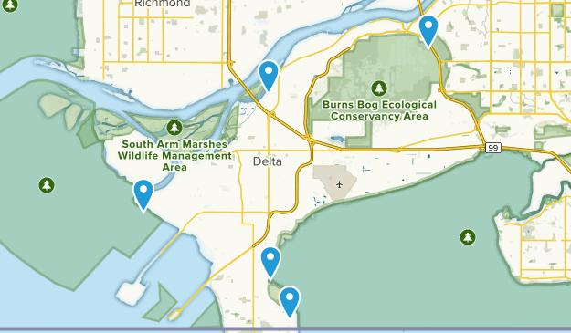 Delta, British Columbia Trail Running Map