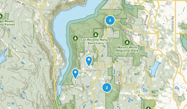 District Of Highlands, British Columbia Hiking Map