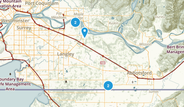 Langley Twp, British Columbia Hiking Map