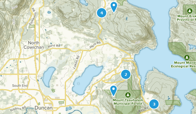 North Cowichan, British Columbia Hiking Map