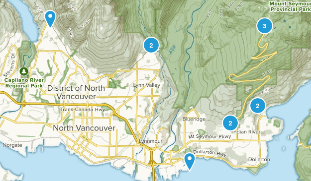 North Vancouver District, British Columbia Birding Map