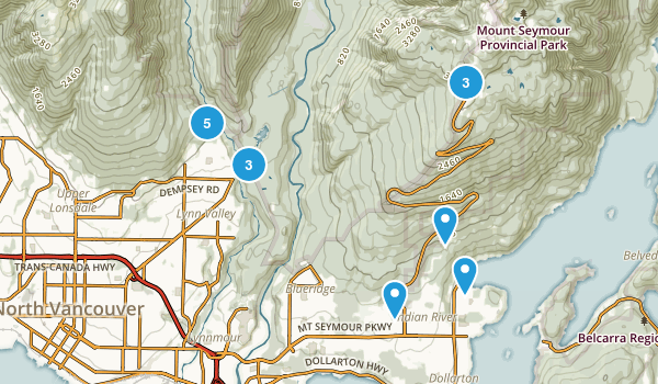 North Vancouver District, British Columbia Dogs On Leash Map