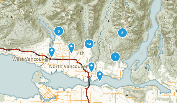 North Vancouver District, British Columbia Hiking Map