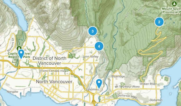 North Vancouver District, British Columbia River Map