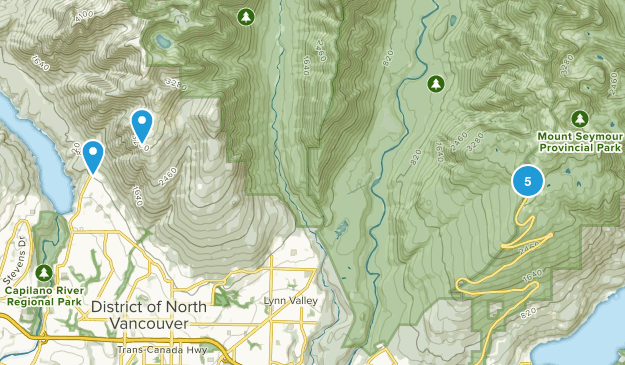 North Vancouver District, British Columbia Snowshoeing Map