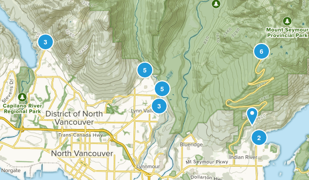 North Vancouver District, British Columbia Trail Running Map