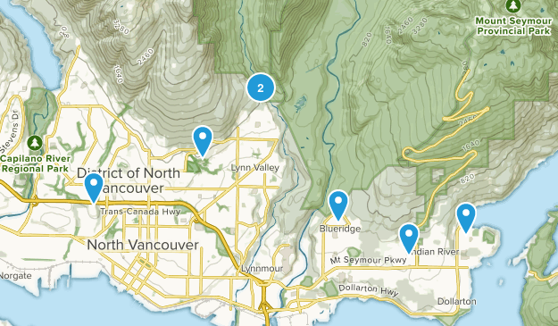 North Vancouver, British Columbia Dogs On Leash Map