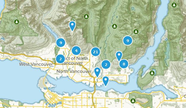North Vancouver, British Columbia Hiking Map