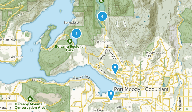 Port Moody, British Columbia Dogs On Leash Map