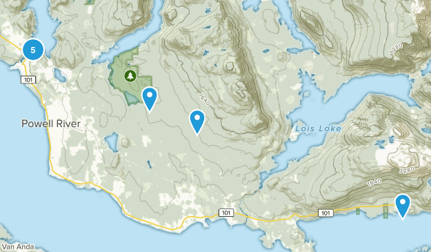 Powell River, British Columbia Forest Map