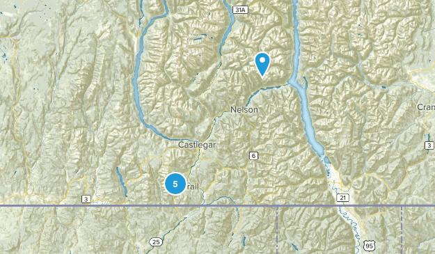 Rossland, British Columbia Hiking Map
