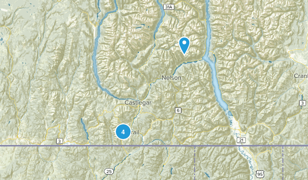 Rossland, British Columbia Nature Trips Map