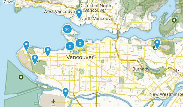 Vancouver, British Columbia Dogs On Leash Map
