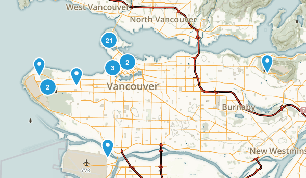 Vancouver, British Columbia Hiking Map