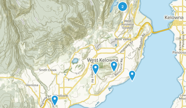 West Kelowna, British Columbia Hiking Map